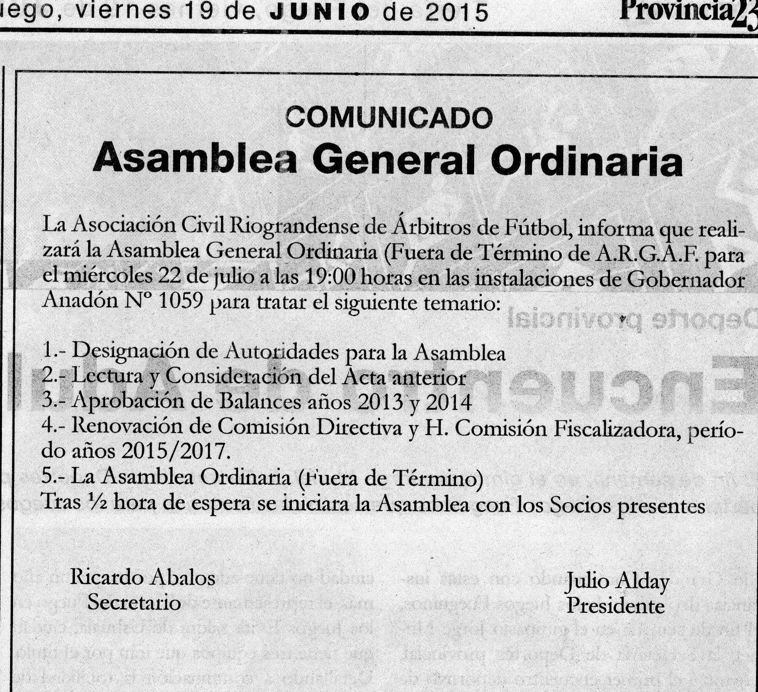 ASAMBLEA GENERAL ORDINARIA DE ARGAF