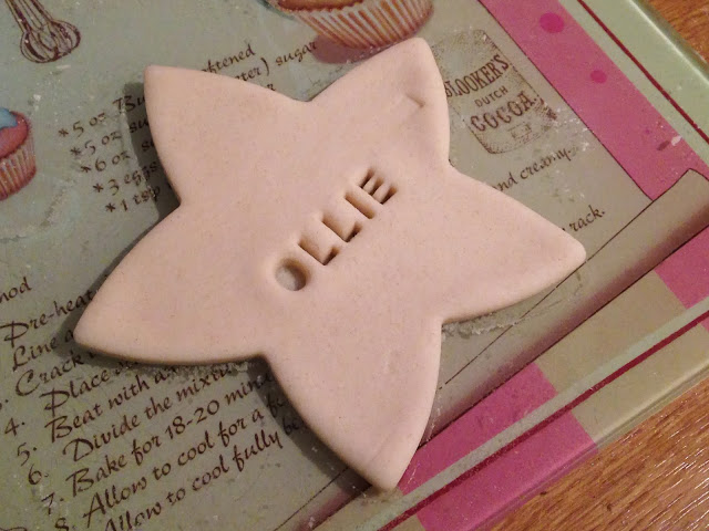 star shaped personalised christmas tag using salt dough