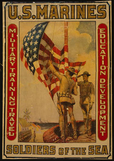 classic posters, free download, graphic design, military, propaganda, retro prints, united states, vintage, vintage posters, war, U.S. Marines, Soldiers of the Sea - Vintage War Military Poster