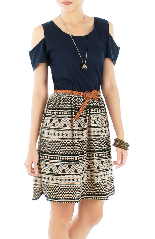 Dark Blue Peekaboo Shoulder Aztec Print Skirt Dress