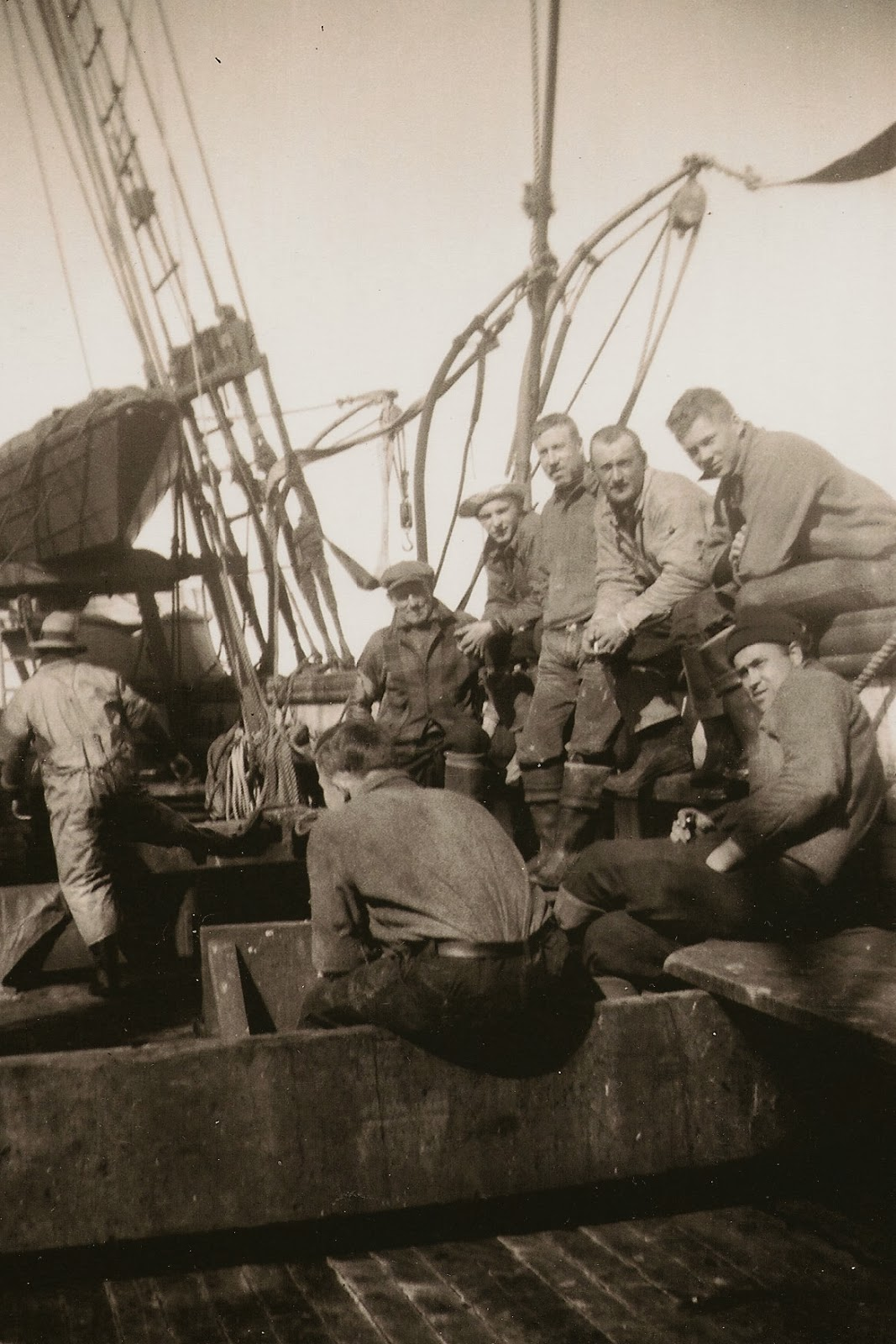 These 9 Donated Photos Aboard The Schooner SOPHIE CHRISTENSON Are Unidentified For Date And Names Of Fishermen Can You Help Us With Any Crew
