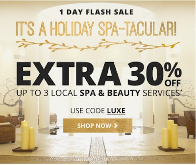 Groupon Holiday Spa-Tacular Extra 30% Off Spa & Beauty Services Promo Code