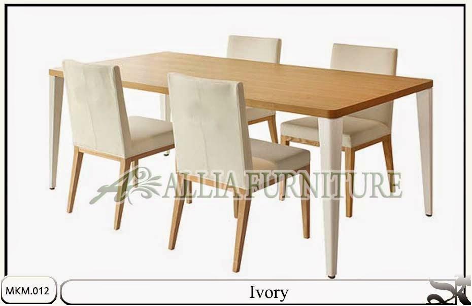 meja kursi makan minimalis set ivory