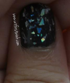Tony Moly nail polish TR09 with Etude House nail polish PWH903 on top