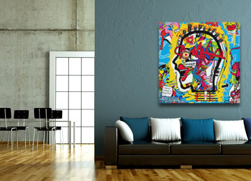 graffiti, urban art, abstract, portrait, multi coloured, wall art, canvas art, artwork, modern, square,