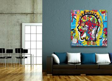 graffiti, urban art, abstract, portrait, multi coloured, wall art, canvas art, artwork, modern, square,
