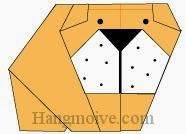Bước 14: Vẽ mắt, mũi để hoàn thành cách xếp con chó bull bằng giấy theo phong cách origami nghệ thuật.