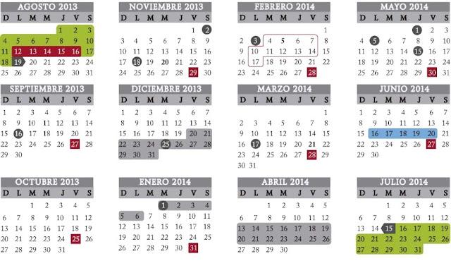Calentario Escolar 2013-2014  SEP
