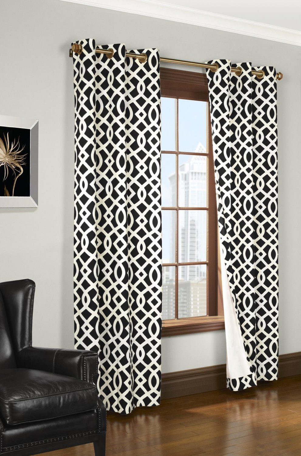 Modern black and white geometric themed bedding and curtains for Curtains for black and white living room