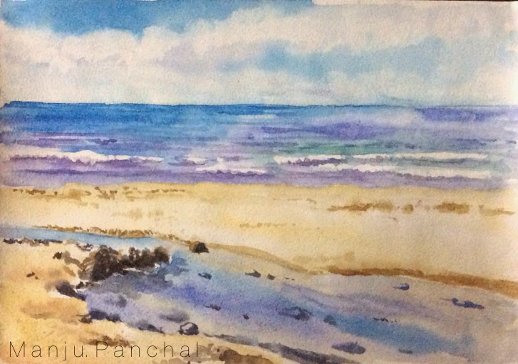 water colour painting of seascape by Manju Panchal