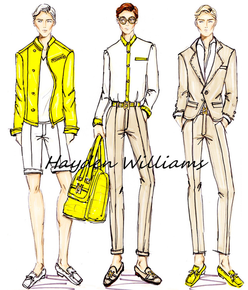 Hayden williams fashion illustrator menswear illustrations drawings sketches