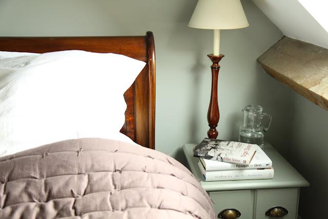 Farrow and Ball Pigeon Light Blue bedroom