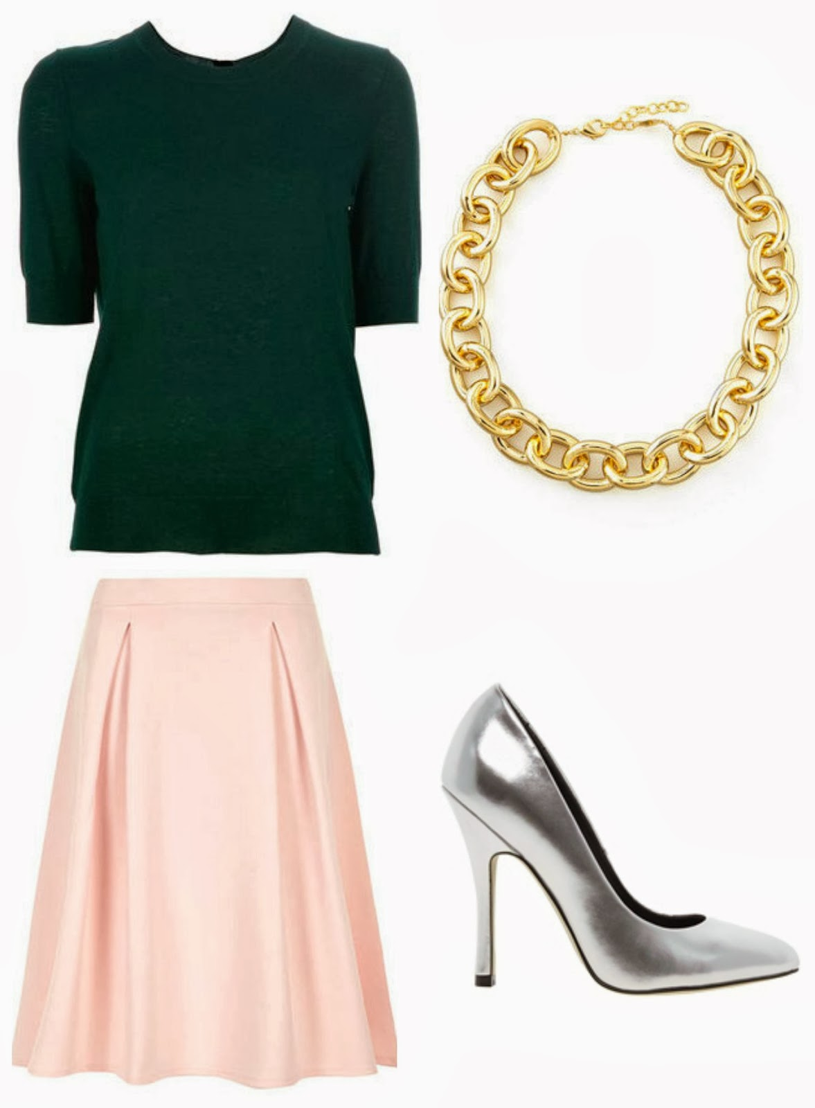 Blush Pink skirt, How to wear a midi skirt, Modest skirt, Silver pumps