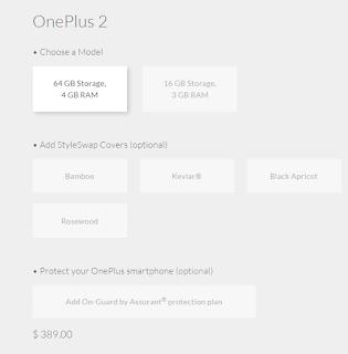 OnePlus 2 64 GB Storage, 4 GB RAM $ 389.00