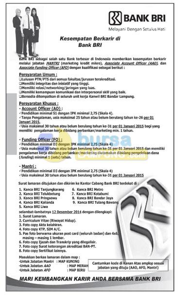 Recruitment BANK BRI Desember 2014, Lowongan Kerja BANK BRI Desember 2014 di lampung