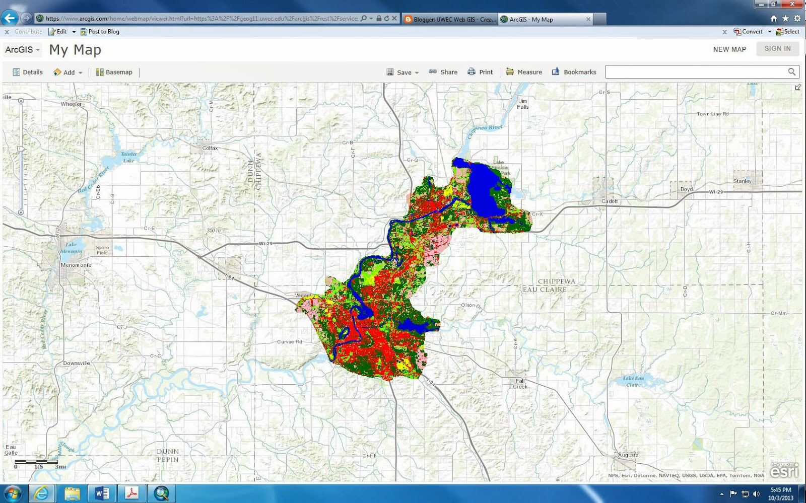 the map that was created from the step above displays the different types of land use in the chippewa valley