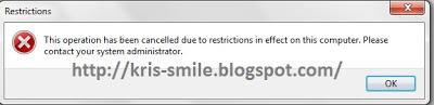 Tolak akses pengguna ke sebuah drive (hard Disk) tertentu di Windows 7