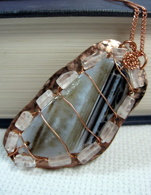 Hand Hammered Copper and Agate Necklace