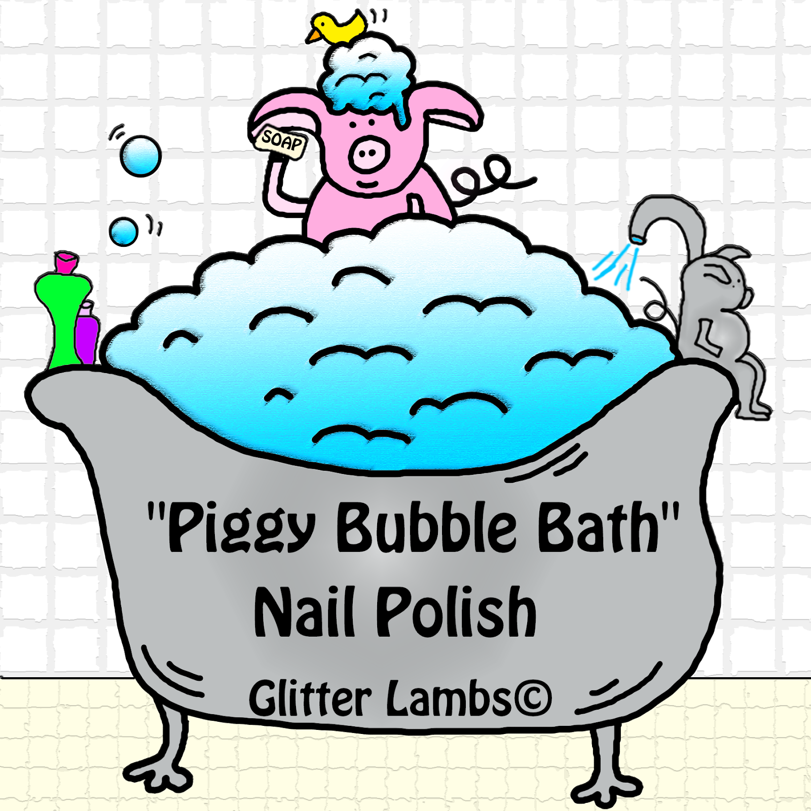 Piggy Bubble Bath  Glitter Topper Nail Polish  By Glitter Lambs