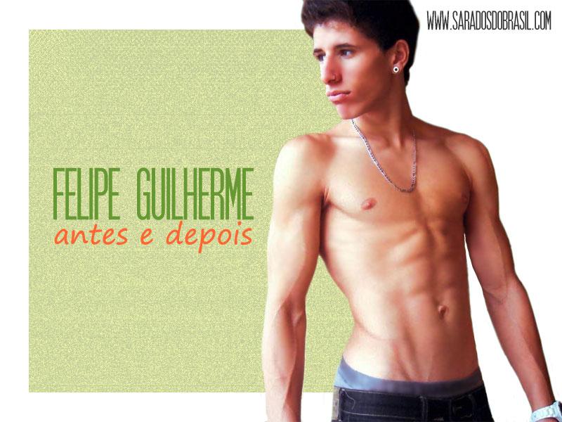 O modelo Felipe Guilherme ganhou 19 quilos após entrar para a musculação