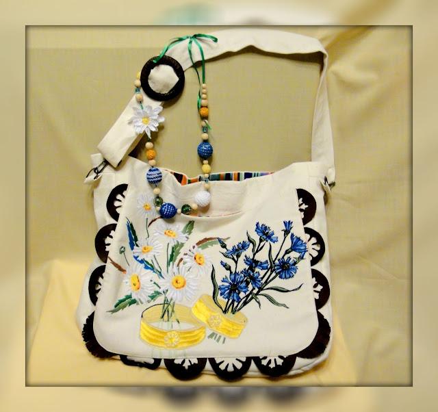 Летняя сумка Васильки и ромашки - подарок на годовщину свадьбы, подарок мужа для жены