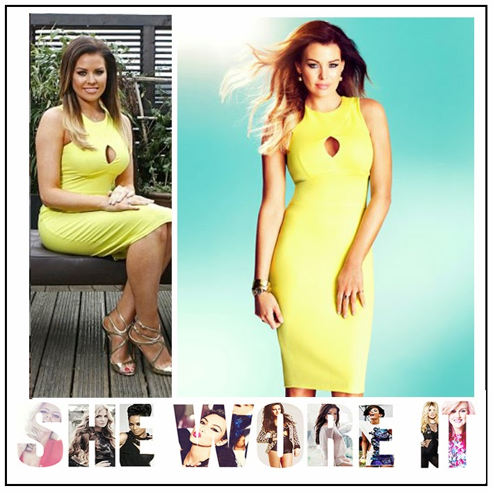 Bodycon, Bright Yellow, Celebrity Style, Celebriy Fashion, Cut Out Detail, Jersey, Jessica Wright, Lipsy, Midi Dress, Neon, The Only Way Is Essex, TOWIE, Yellow,