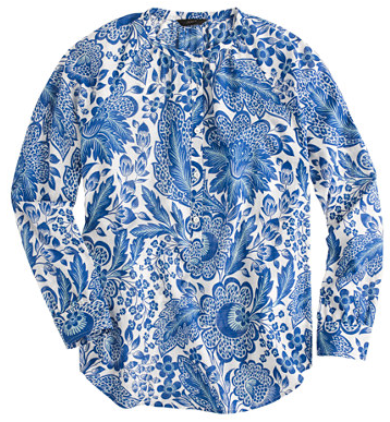 j.crew blue floral blouse