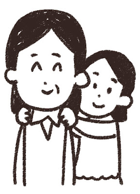 勤労感謝の日のイラスト「女性会社員の肩を揉む女の子」線画