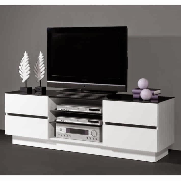 Meuble tv noir et blanc meuble tv - Meuble tv blanc et noir ...