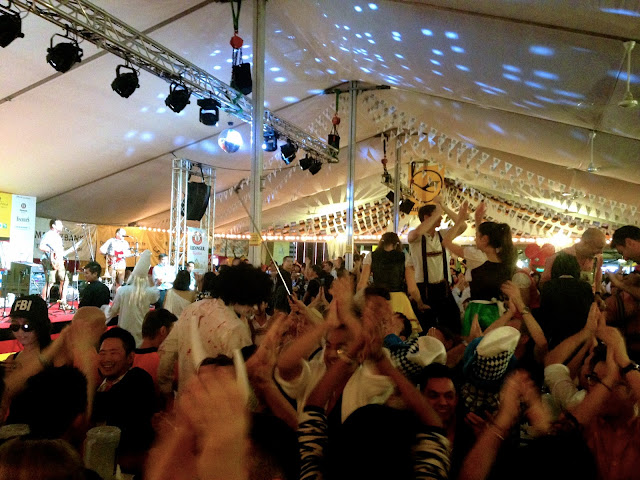 Inside the tent at Marco Polo German Bierfest, TST, Hong Kong on Halloween