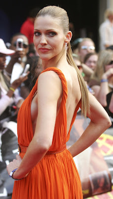 Tricia Helfer In Orange Dress