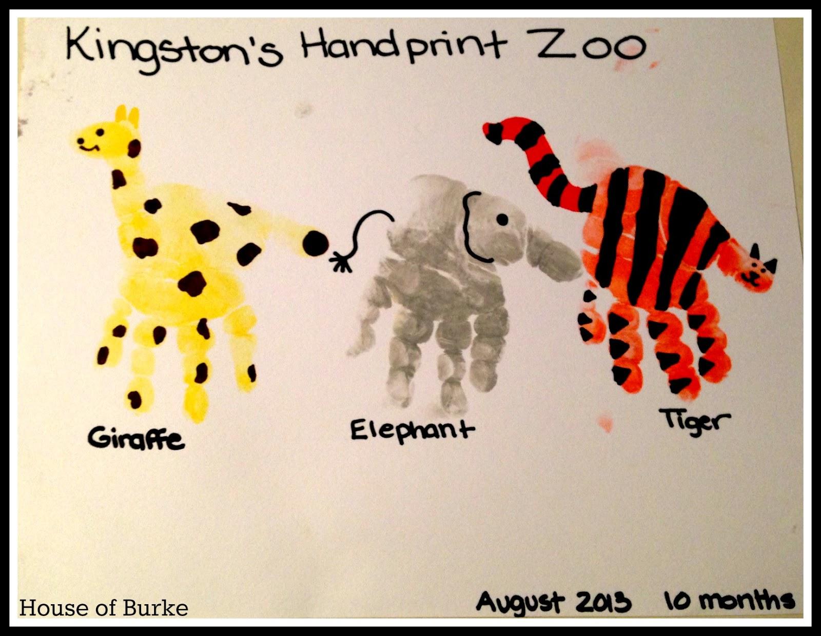 Handprint Zoo on Animal Giraffe Crafts For Preschool