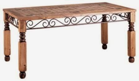 mesa de madera y forja, mesa forja rustica