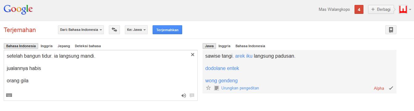 bahasa baru di google translat e selain bahasa jawa adalah