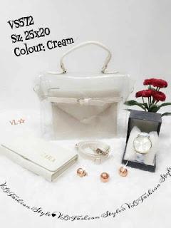 Paket asik 3 in 1 hanya 139 ribu, (Tas, Dompet dan jam tangan ) Warna Cream,Kode VS 572