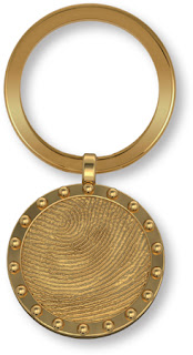 14k Gold Ship Porthole Key Fob with Fingerprint