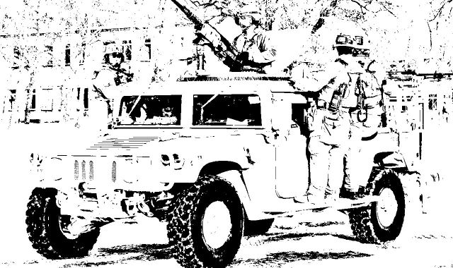 Special Forces Jeep Vehicle Coloring Sheet for Teens.