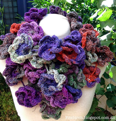 crocheted winter flowers scarf
