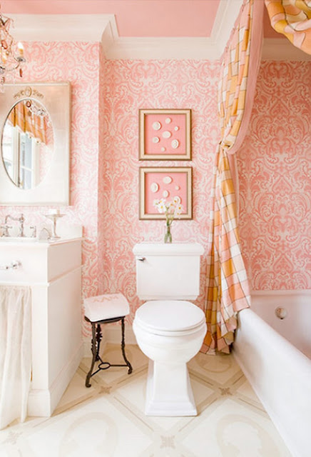 navy & orange: girly bathroom