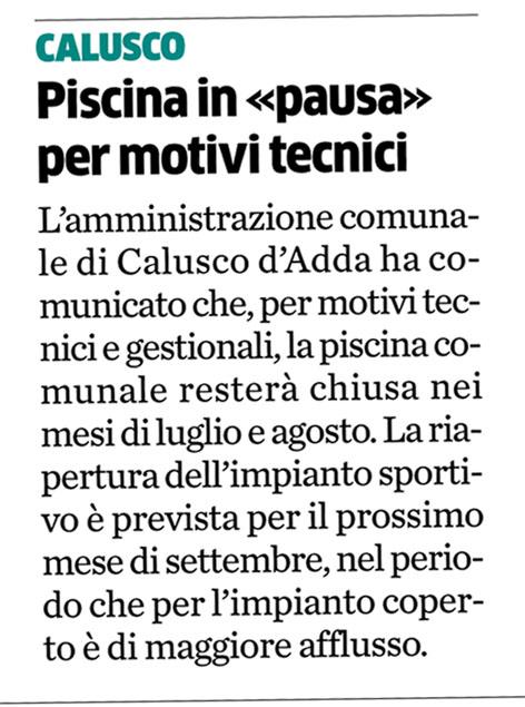 Caluscoinlinea giugno 2011 - Piscina calusco d adda ...