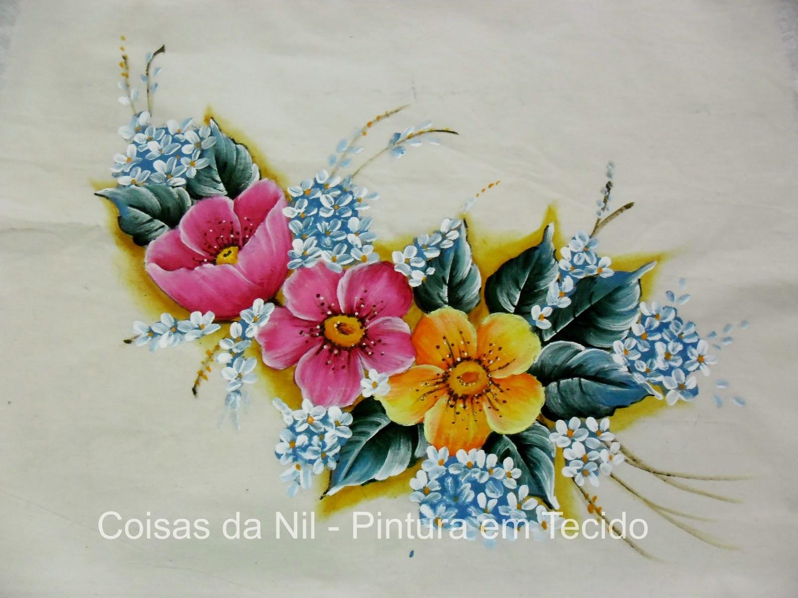 pintura em tecido flores papoulas em rosa e amarelo