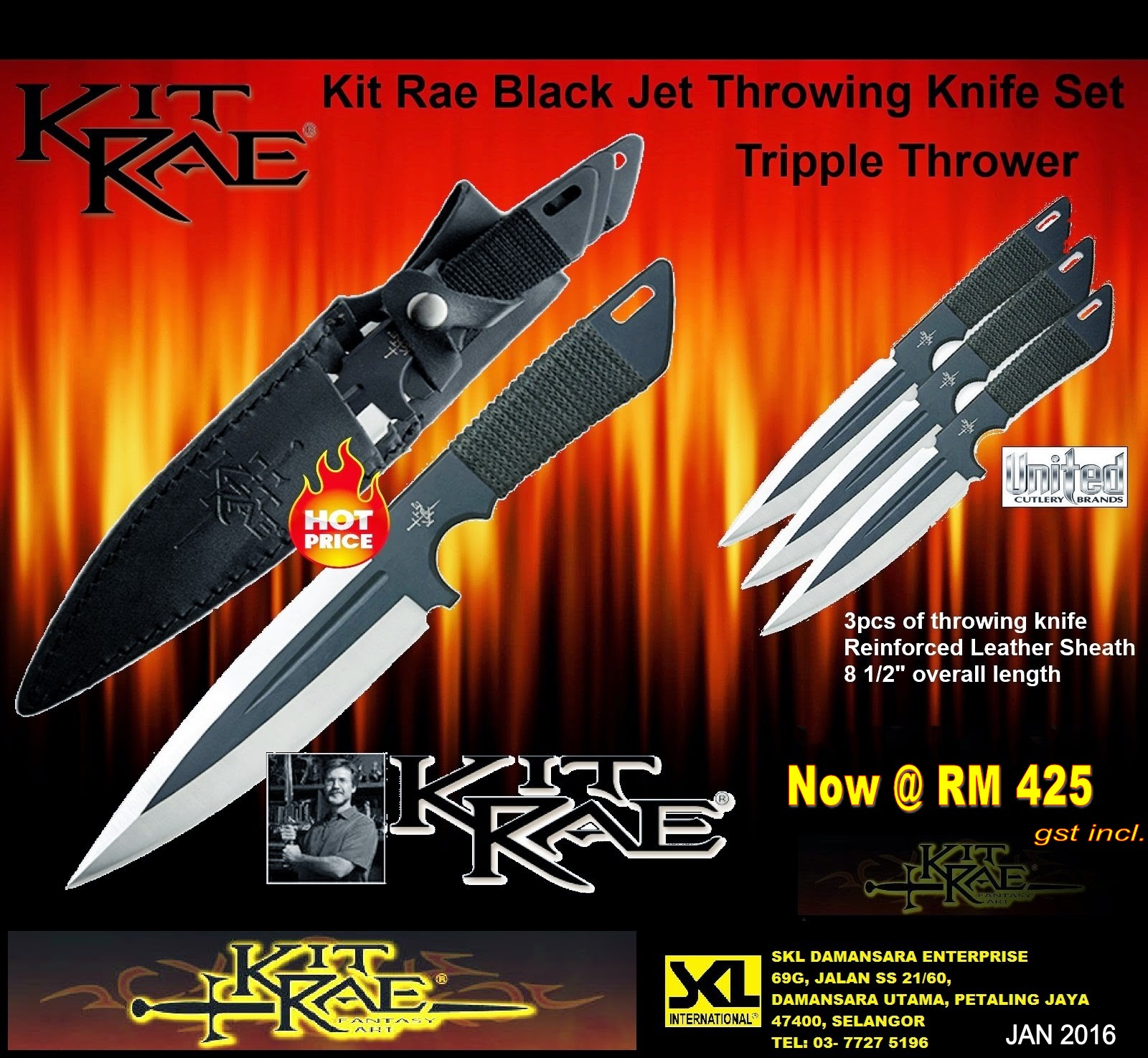 Kitrae Black Jet Throwing Knife Triple Set now at RM 425.00 only!