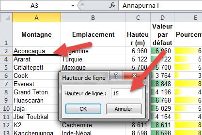 Afficher les lignes masquées Excel - hauteur de cellule