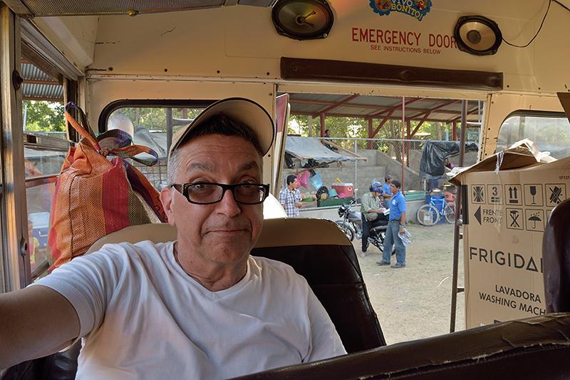 À bord d'un chicken bus au Nicaragua