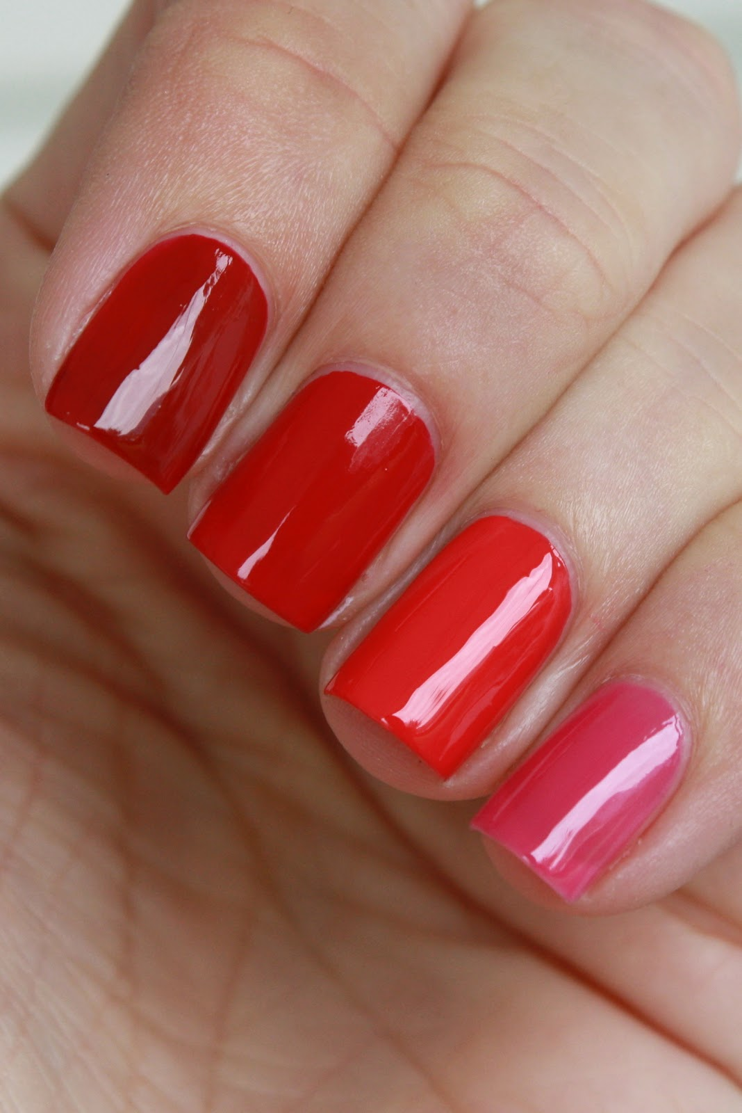 ... Revlon Valentine, it's a lovely red jelly that builds opacity quickly, this is 2 coats. On my middle finger I'm wearing Revlon Cherries in the Snow, ...