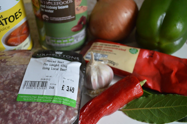 Beef Chilli ingredients