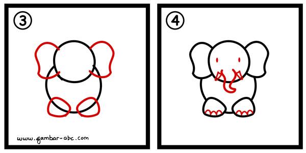 cara menggambar gajah