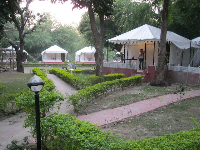 Outside our tent at the Aravali Tent Resort