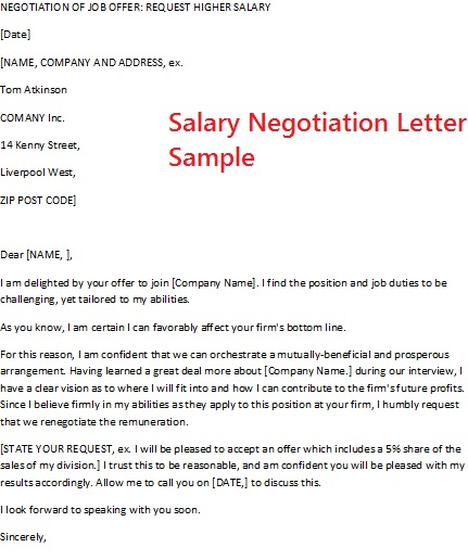 negotiating job offer letter | Template