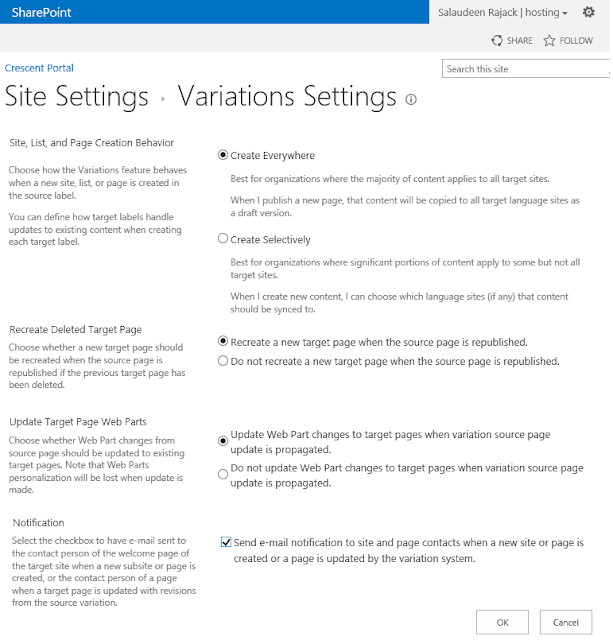 variation settings sharepoint 2013